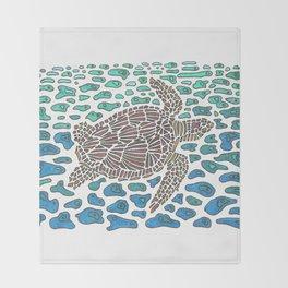 Vanishing Sea Turtle by Black Dwarf Designs Throw Blanket