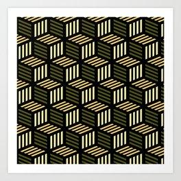 Cubic Olive Art Print