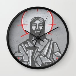 Jesus Christ and Eucharist symbols Wall Clock