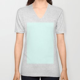 Light Cyan Soft Mint Green Solid Matte Colour Palette Unisex V-Neck
