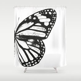 Monarch Butterfly | Right Butterfly Wing | Vintage Butterflies | Black and White | Shower Curtain