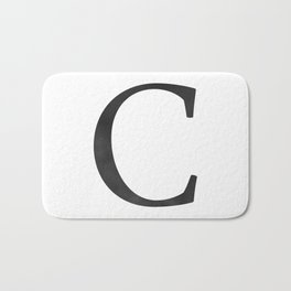 Letter C Initial Monogram Black and White Bath Mat