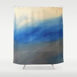 Skyline Ocean Beach Summer Original Painting by Jodi Tomer Blue Gray Shower Curtain