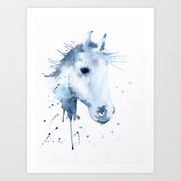 Watercolor Horse Portrait Abstract Paint Splatter Art Print