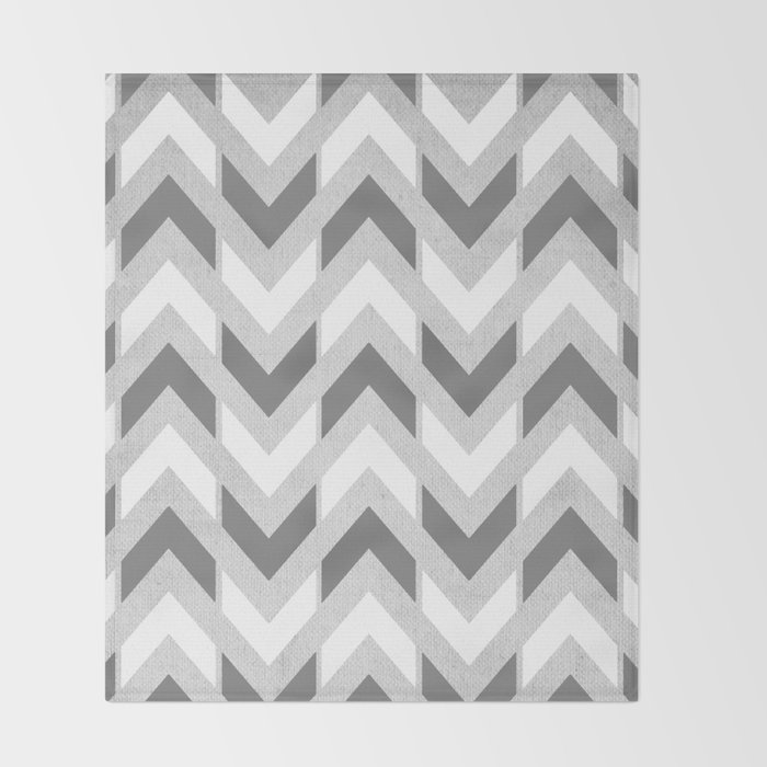 Grey White Herringbone Chevron Throw Blanket By Tangerinetane Fascinating Grey And White Chevron Throw Blanket