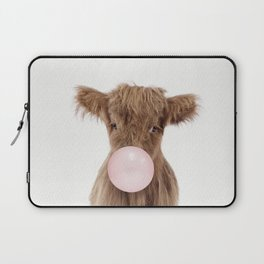 Bubble Gum Highland Cow Baby Laptop Sleeve