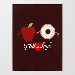 Fall in Love Apple Donuts Poster