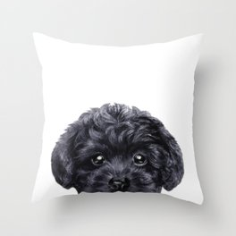 Black toy poodle Dog illustration original painting print Throw Pillow