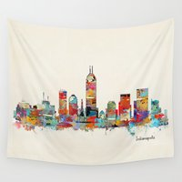 indiana Wall Tapestries featuring Indianapolis Indiana skyline by bri.buckley