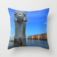 wisconsin Throw Pillows featuring Battleship Wisconsin by Raymond Earley