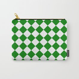 Diamonds - White and Green Carry-All Pouch