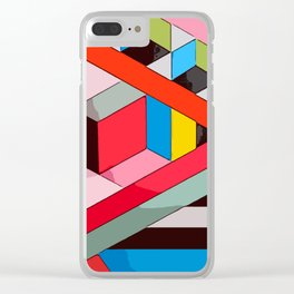 Modern rainbow colorblocking designed in contemporary colours #Terrazzo #Blobs Clear iPhone Case