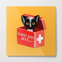 FIRST AID KITten | Yellow Metal Print