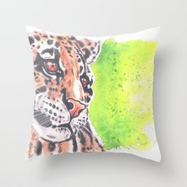 Wild Cat Cloud Leopard Watercolor painting Throw Pillow