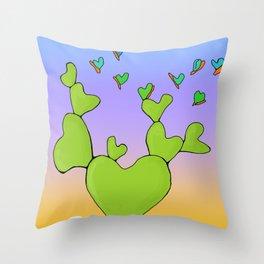 Butterfly Evolving Heart Cactus Throw Pillow