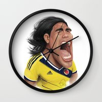 colombia Wall Clocks featuring Falcao - Colombia by Sant Toscanni