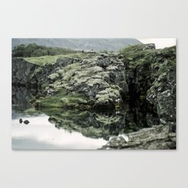 Thingvellir grass and water, Iceland Canvas Print