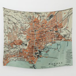 Vintage Map of Naples Italy (1911) Wall Tapestry
