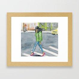 Coily Girl In The City Framed Art Print