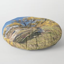 Yellow Tree in the mountains Floor Pillow