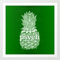 psych Art Prints featuring Psych Pineapple! by Alohalani