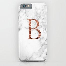 Monogram rose gold marble B iPhone Case