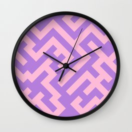 Cotton Candy Pink and Lavender Violet Diagonal Labyrinth Wall Clock