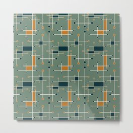 Intersecting Lines in Olive, Blue-green and Orange Metal Print