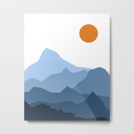 Abstract Blue And Orange Mountain Sunset Landscape Metal Print