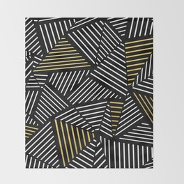 A Linear Black Gold Throw Blanket