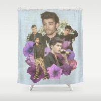 zayn malik Shower Curtains featuring Zayn Malik + Flowers 2 by Ladsandstuff