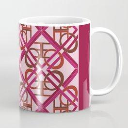 Interlaced Love Mandala Tiled - Wine Rose Coffee Mug