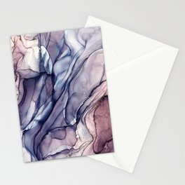 Slate Purple and Sparkle Flowing Abstract Stationery Cards