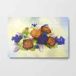 A Beautiful Life - Vintage Flower Art Metal Print