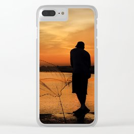 A Fisherman's Sunset Clear iPhone Case