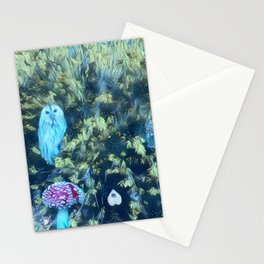 The Owl, Planchette, and the Honeysuckle bush Stationery Cards