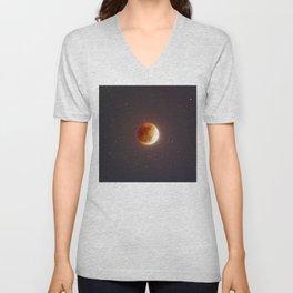 Lunar Eclipse Blood Moon Unisex V-Neck