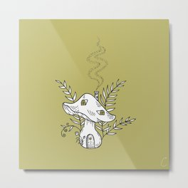 Woodland Mushroom Home Metal Print