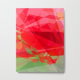 Red Rose Edges Abstract Polygons 3 Metal Print