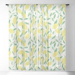 Lemons and Leaves Pattern Sheer Curtain