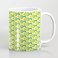 green pattern Mugs featuring pattern green by colli13designs