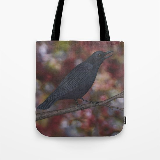 crow on a branch bokeh Tote Bag