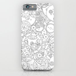 Clockwork B&W / Cogs and clockwork parts lineart pattern iPhone Case
