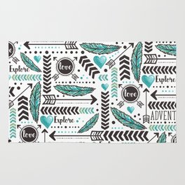 Turquoise Tribal Illustration Pattern Rug
