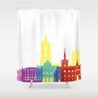 leon Shower Curtains featuring Leon skyline pop by Paulrommer