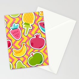 Happy Fruits seamless pattern Stationery Cards