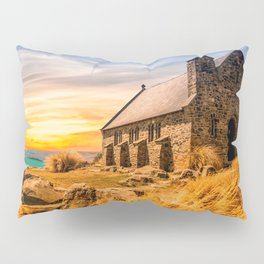 Old Stone Church on Colorful Landscape Pillow Sham