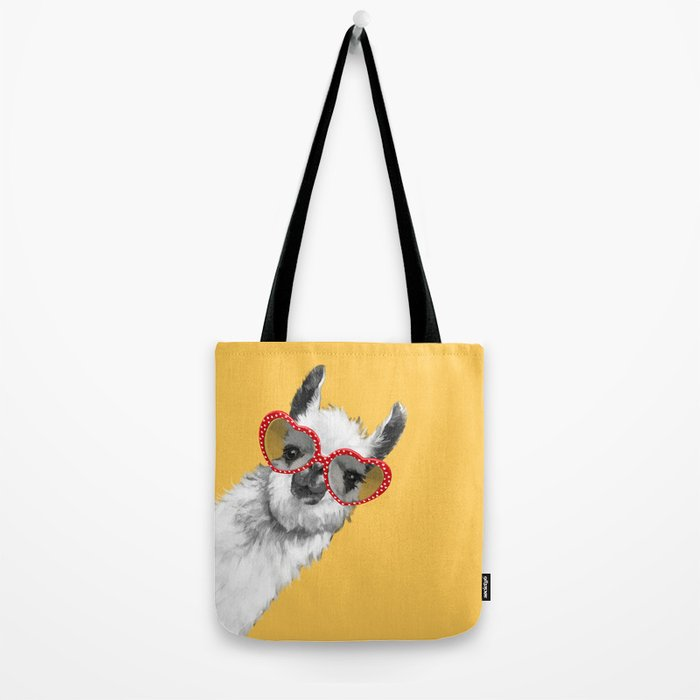 Fashion Hipster Llama with Glasses Tote Bag