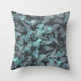 Green and White Ink on Black Background Throw Pillow