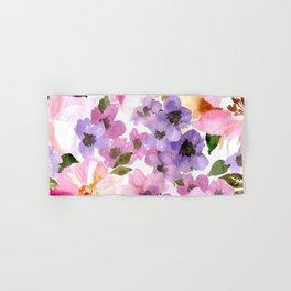 Pink Purple Watercolor Flowers Hand & Bath Towel